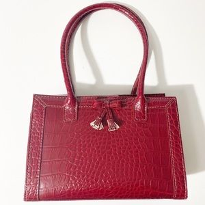 Liz Claiborne Bags - Liz Claiborne Burgundy Crocodile Embossed Handbag